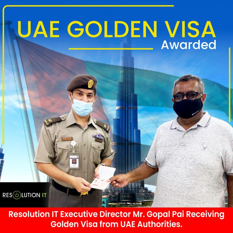 UAE Golden Visa Awarded to Mr. Gopal Pai, Resolution IT MEA DMCC Executive Director